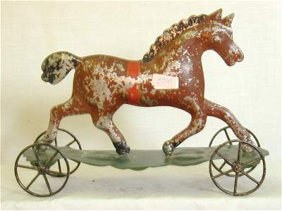 """321A: EARLY SOLDERED TIN HORSE ON PLATFORM 9"""""""