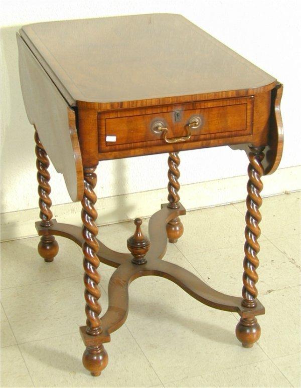 5007: CUSTOM MAHOGANY 2 DRAWER PEMBROKE TABLE