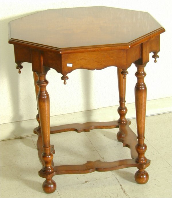 5009: CUSTOM MAHOGANY OCTAGONAL PARLOR TABLE