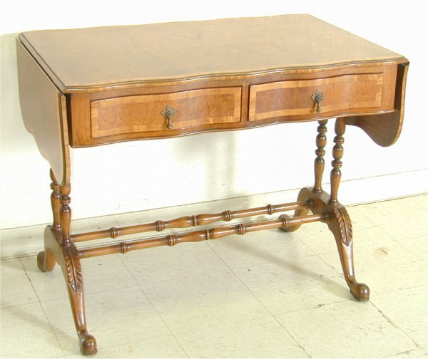 5012: CUSTOM MAHOGANY SERPENTINE TABLE W/BAND