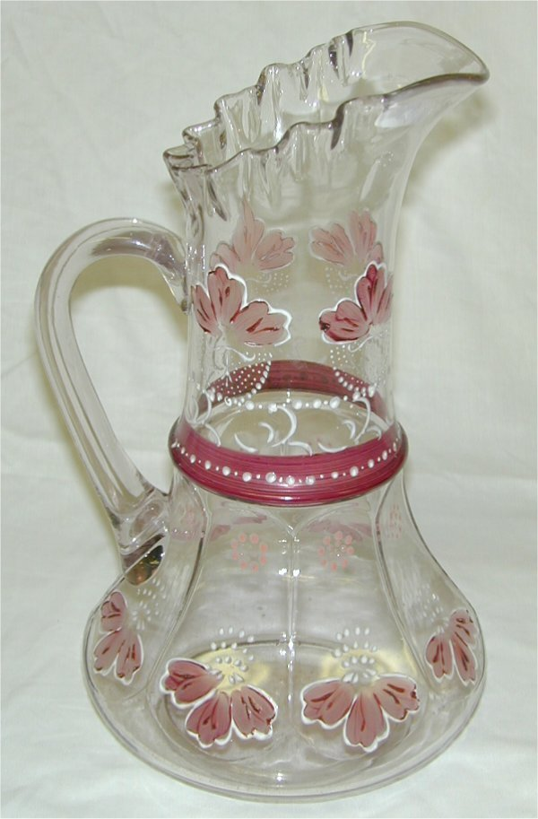 5014: VICTORIAN GLASS PITCHER APPLIED ENAMEL