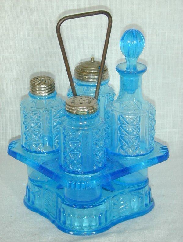 5017: VICTORIAN BLUE GLASS CASTOR SET, MINOR