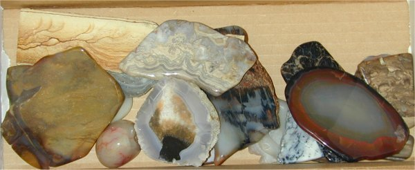 223: LOT POLISHED STONES INCL AGATES