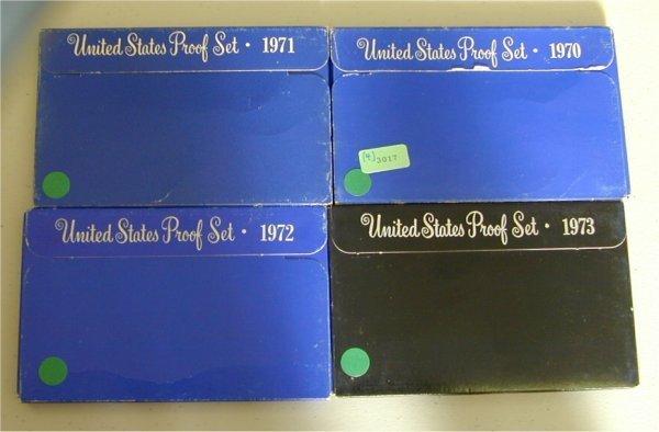 3017: LOT OF (4) U.S. PROOF SETS 1970, 1971,