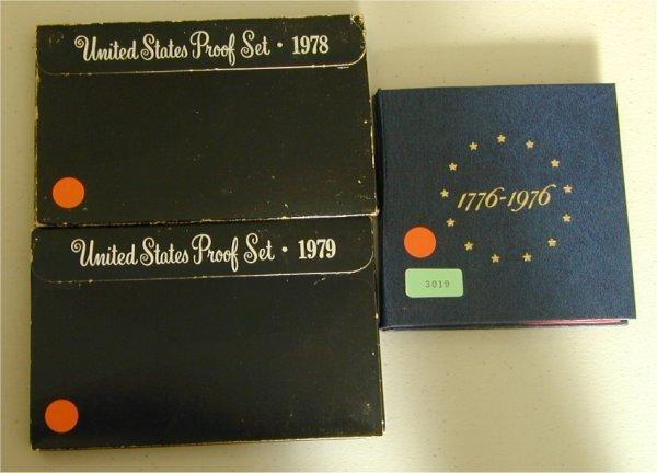 3019: LOT OF (3) U.S. PROOF SETS 1976 3 PC BI