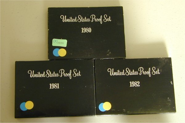 3020: LOT OF (3) U.S. PROOF SETS 1980, 1981,