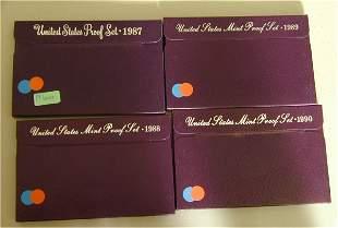 LOT OF (4) U.S. PROOF SETS 1987, 1988,