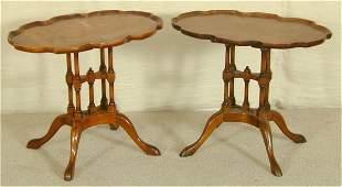 PR BURLED MAHOGANY SIDE TABLES W/SHAPED
