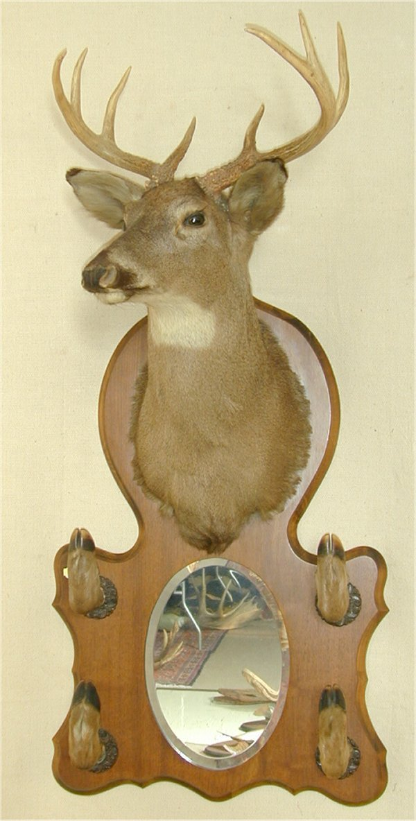 23: DEER MOUNT W/HOOF HOOKS & MIRROR