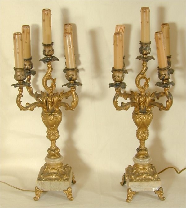 912: PR OF GOLD METAL & MARBLE 5 LIGHT ELECT