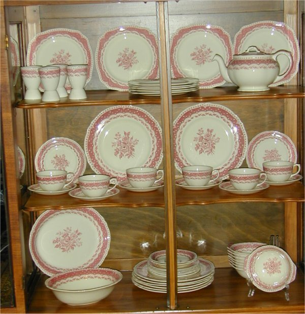 "923: 54 PC SET GRINDLEY ""AVON"" RED TRANSFER D"