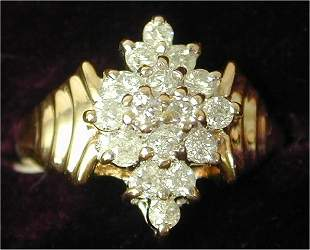 14K Y G .50 CT TW DIAMOND FASHION RING,