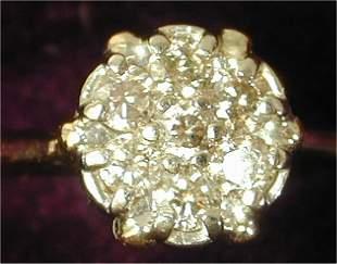 14K Y G DIAMOND CLUSTER STYLE RING W/7