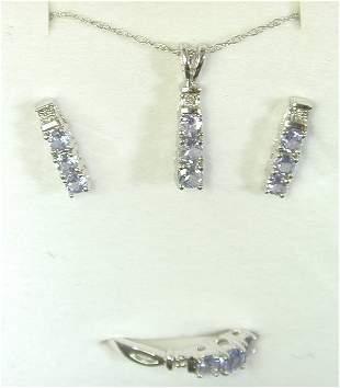 10K W G TANZANITE & DIAMOND RING, EARRI