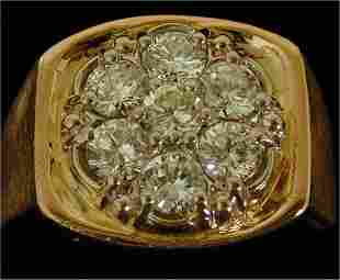 14K Y G DIAMOND GENTS CLUSTER STYLE RIN