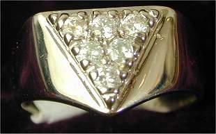 14K W G GENTS FASHION RING W/6 DIAMONDS