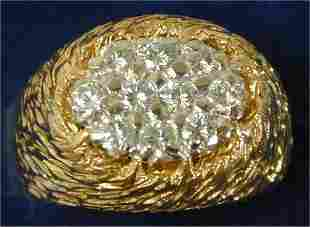 18K Y G 1 CT TW GENTS CLUSTER RING W/10