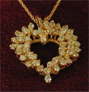 14K Y G 1 CT TW DIAMOND HEART PENDANT,