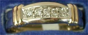 14K W G BAND W/5 DIAMONDS & (2) Y G BAR