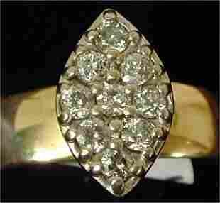 10K Y G .38 T W CLUSTER RING W/9 DIAMON