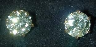 14K Y G 3.21 CT TW RND DIAMOND STUD EAR