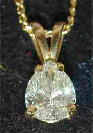 14K Y G .46 PT PEAR SHAPED DIAMOND PEND