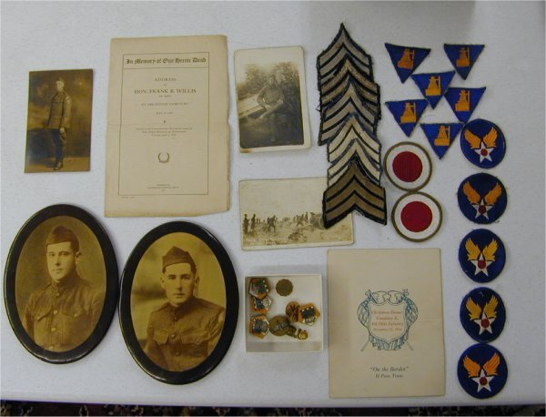 3501: LOT INCL (2) MILITARY PHOTOS, WWI INSIG