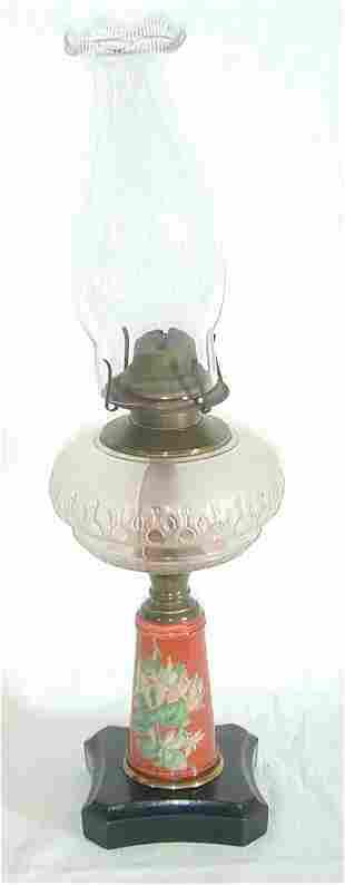 VICT KEROSENE LAMP W/PTD FLORAL FONT 12
