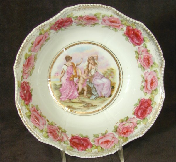 5003: CHINA BOWL W/PORTRAIT & ROSE BORDER 9 3