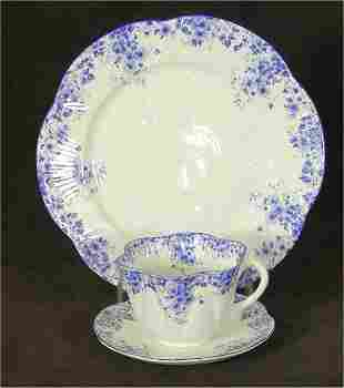 """SHELLEY CHINA """"DAINTY BLUE"""" CUP & SAUCE"""