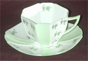 """SHELLEY CHINA """"CHARM"""" SQ CUP & SAUCER"""
