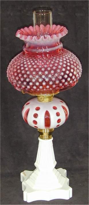 VICT MILK GLASS OIL LAMP W/CRANBERRY CU