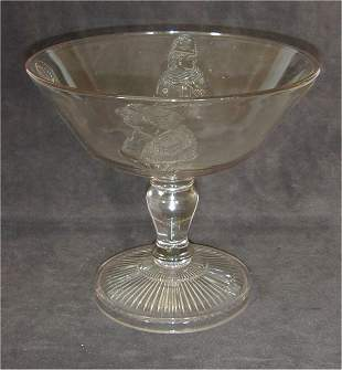 EARLY PATTERN GLASS TALL COMPOTE W/RAIS