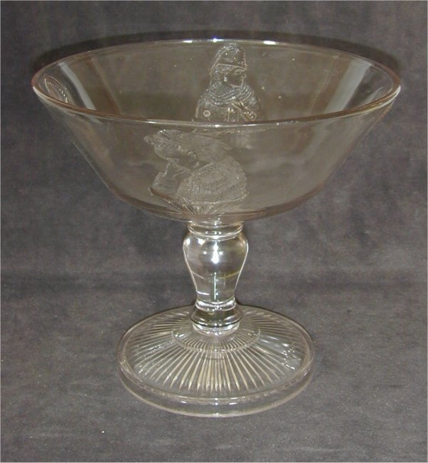 5009: EARLY PATTERN GLASS TALL COMPOTE W/RAIS