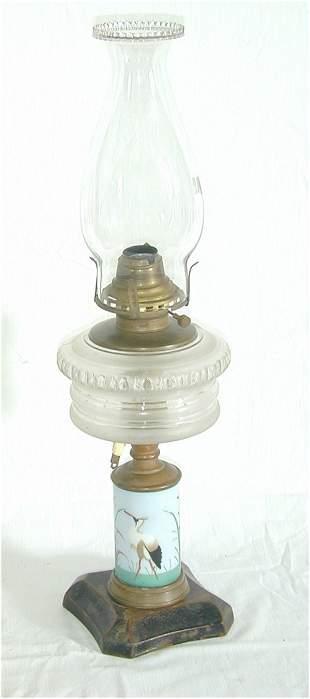 VICT OIL LAMP W/MILK GLASS DECORATED FO