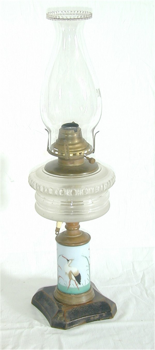 5011: VICT OIL LAMP W/MILK GLASS DECORATED FO