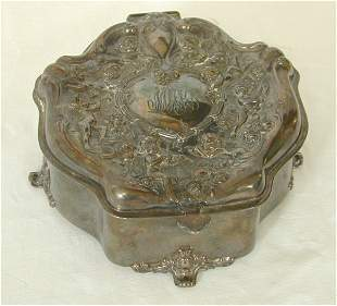 VICT SILVER PLATE HINGED LID DRESSER BO
