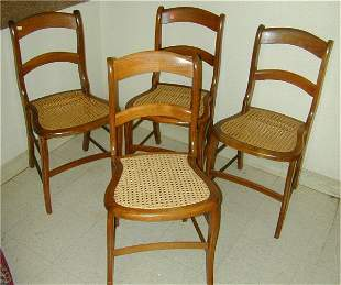 SET 4 WALNUT VICT CHAIRS W/CANED SEATS