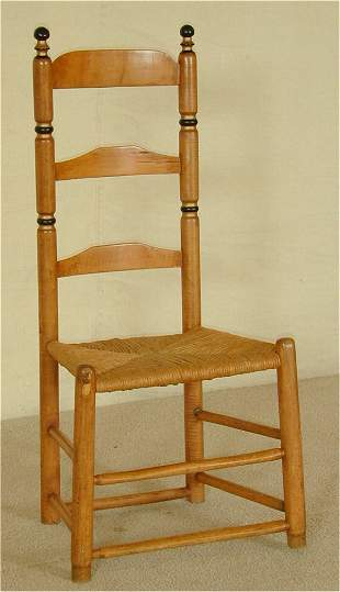 EARLY LADDERBACK SIDE CHAIR W/RUSH SEAT