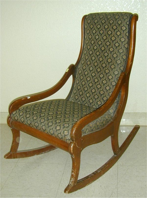5021: WALNUT UPHOLS YOUTH SIDE ROCKING CHAIR,