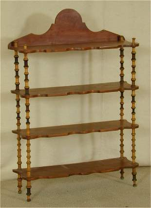WALNUT VICT 4 TIER WHAT NOT STAND W/SEW