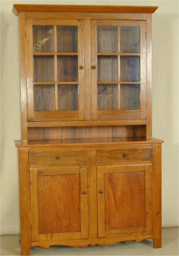 5631: WALNUT STEPBACK CUPBOARD W/6 PANE GLASS