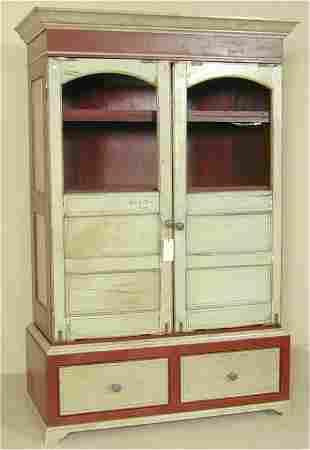 2 DOOR OVER 2 DRAWER OLD RED & WHITE PTD CUPBOARD