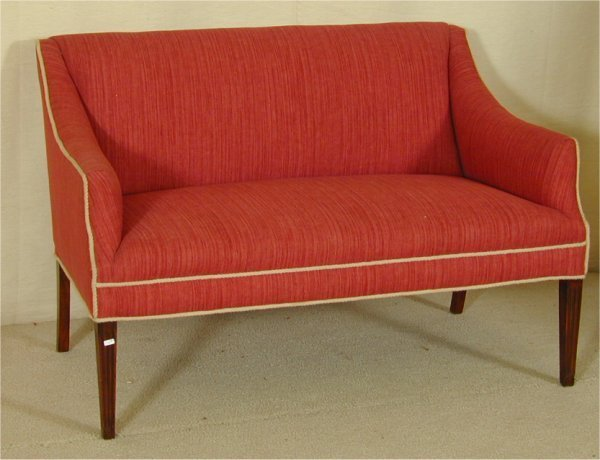 """5006: CHIPPENDALE LOVE SET W/ROSE UPHOLSTERY 49""""L X 24"""""""