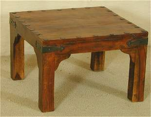 """ROSEWOOD SQUARE TABLE W/HAMMERED METAL ACCENT 24"""""""