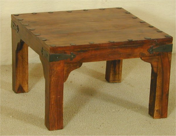"""5007: ROSEWOOD SQUARE TABLE W/HAMMERED METAL ACCENT 24"""""""