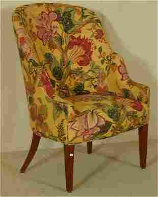 CHIPPENDALE BARREL SHAPED OCCASIONAL CHAIR W/BRIG