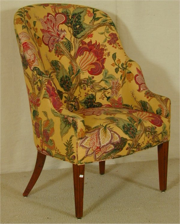 5008: CHIPPENDALE BARREL SHAPED OCCASIONAL CHAIR W/BRIG