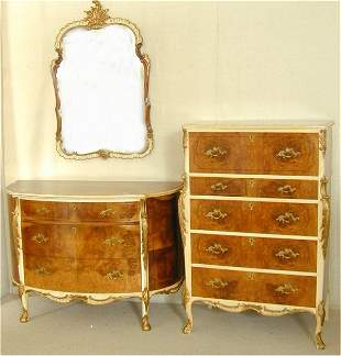 1920'S GILDED FRENCH STYLE 3 PC BEDROOM SUITE W/D