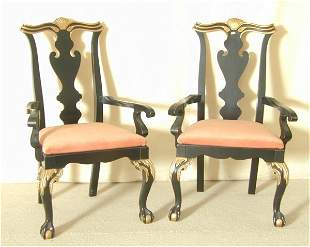 PR CHIPPENDALE OPEN ARM CHAIRS W/BALL & CLAW FEET